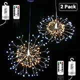 Lyhope 2 Pack Led Fairy Lights, Battery Operated Waterproof Dimmable Decorative Light with Remote Control 150 Led Starburst String Lights for Outdoor & Indoor, Wedding, Holiday Decor (Warm & Cool Whit
