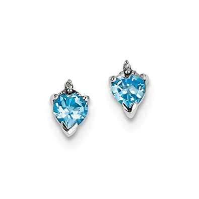 c6ed5743a Amazon.com: Sterling Silver Polished Rhodium-plated Heart SW Blue ...