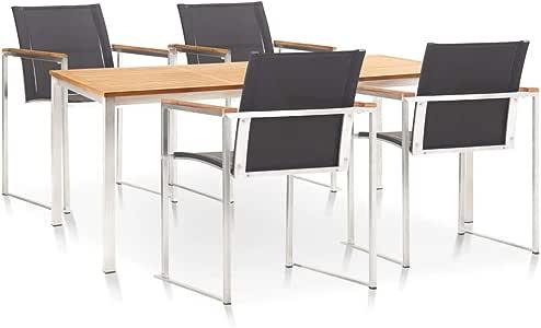 Goliraya - Conjunto de muebles de jardín de 5 piezas (1 mesa + 4 sillas), de teca maciza y acero inoxidable, apilable y duradero, estilo natural, type A: Amazon.es: Hogar