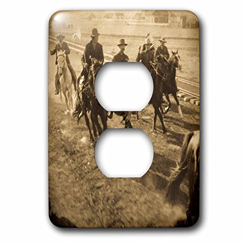 Scenes from the Past Stereoview - Cowboys cheering President Roosevelts train Hugo Colorado 1904 Vintage - Light Switch Covers - 2 plug outlet cover (lsp_240508_6) (Colorado Outlets)