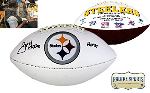 (Joe Greene Autographed/Signed Pittsburgh Steelers NFL Embroidered Football with