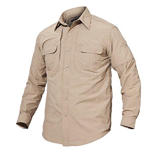 Nylon Ripstop Tactical Shirt - TACVASEN Men's Basic Lightweight Military Tactical Long Sleeve Quick Dry Shirt Khaki for Travel,US M/Tag L