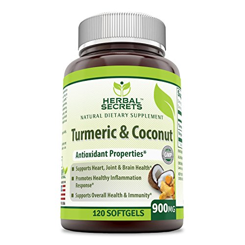 Herbal Secrets Turmeric & Coconut 900 Mg 120 Soft-gels- Antioxidant Properties * Supports Heart, Joint & Brain Health,Promotes Healthy Inflammation Response* For Sale