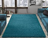 Ottomanson Soft Cozy Color Solid Shag Area Rug Contemporary Living and Bedroom Soft Shag Area Rug, Turquoise Blue, 6'7 L X 9'3 W