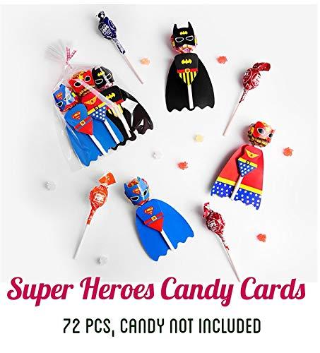 72 PCS Babofarm's Superheroes Lollipop Decoration Cards, Paper Lollipop Candy Holder, Kids Superhero Party Supplies, Party Candy Decoration, Superboy Supergirl Batman (4 pages/superhero, 72 set/bag, Candy NOT Included) -