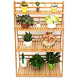 MUGIAZII Plant Flower Stand Plant Display Shelf Rack Shelf Bamboo Foldable Pot Racks Planter Storage Rack Display Shelving Unit