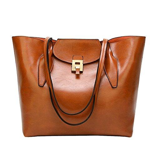 Bolso De Hombro De La Manera De Las Mujeres Señora Large Oil Wax Pu Leather Satchel Top Handle Bag Crossbody Bolsas De Mano Multicolor Brown