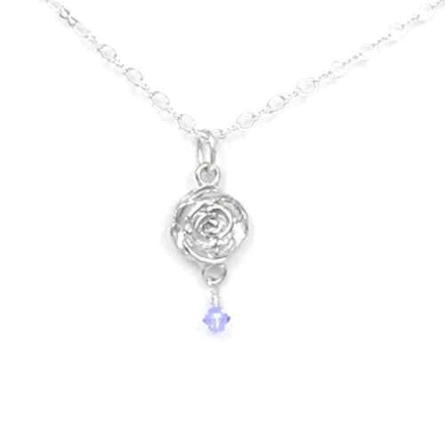 Amazon com: June Flower Rose Necklace with Birthstone