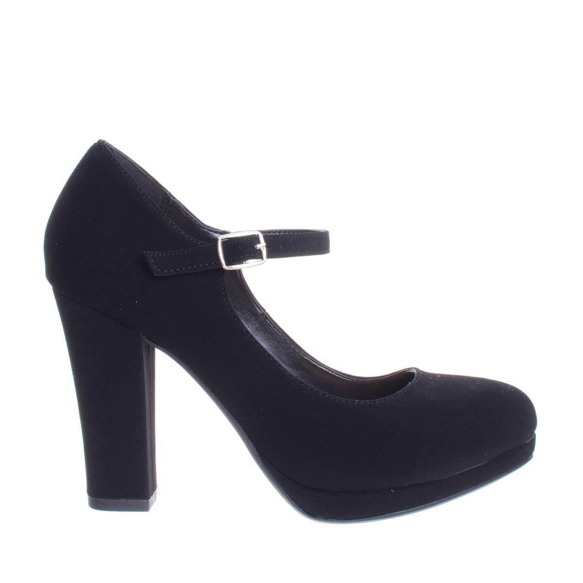City Classified Ayden Black Nubuck Foam Padded Comfortable Mary-Jane Dress Pump, Chunky Block High Heel -8 by City Classified (Image #2)