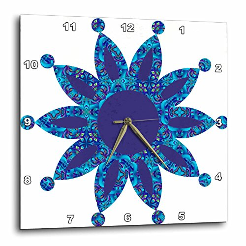 Blue Moroccan Dot Point Flower Wall Clock