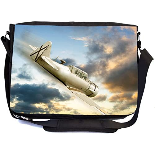 Rikki Knight Fighter Plane Airborne Design Multifunction Messenger Bag - School Bag - Laptop Bag - with padded insert for School or Work - includes Pencil Case