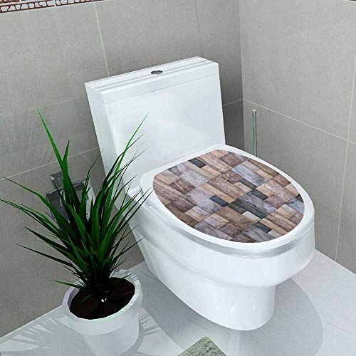 Toilet Seat Sticker Tiles Colored Mosaic Waterproof Decorative Toilet Cover Stickers W12 x L14
