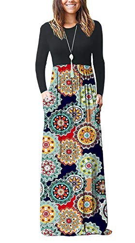 (AUSELILY Women Long Sleeve Loose Plain Maxi Dresses Casual Long Dresses with Pockets (S, Round Floral Red))
