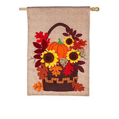 - Evergreen Autumn Basket Outdoor Safe Double-Sided Burlap House Flag, 28 x 44 inches