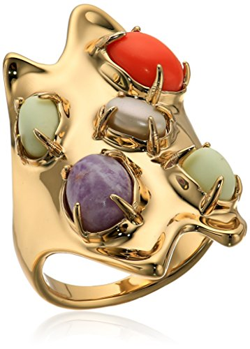 Alexis Bittar Sculptural Gold Stone Cluster Oval Cocktail Ring Pendant Necklace, 10K Gold, Size 7 ()