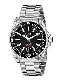 Gucci YA136301 Men's Dive Wrist Watches, Black Dial, Silver Band