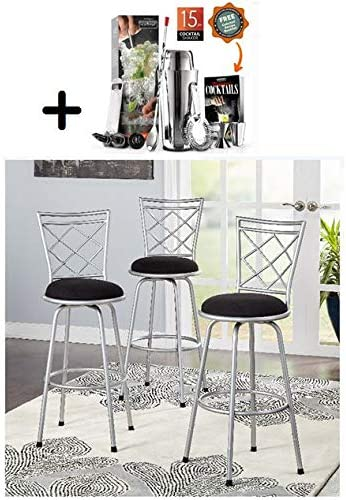 by Mainstay Mainstays Adjustable-Height Swivel Barstool, Silver, Adjustable-Height Swivel