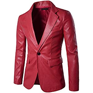 Juseesij Spring Autumn Men Suit Soft Pu Leather Blazer Business Casual Coats Male Wedding Singer Nightclub