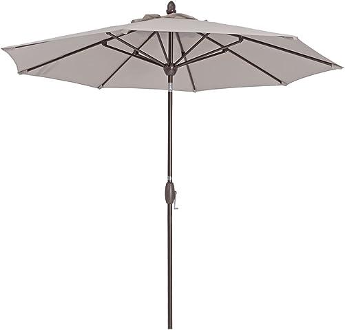 Patio Umbrella 9 Feet Patio Market Table Umbrella with Push Button Tilt, Crank and Umbrella Cover, Beige