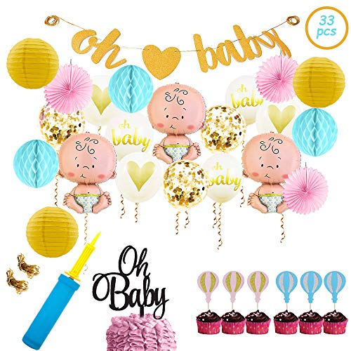 Baby Shower Party Decorations Kit Unisex, Girls and Boys | Oh Baby Banner Decor | Balloons Set | Balloon Pump | Pink Paper Fans | Blue Honeycomb Balls | Yellow Paper Lanterns | Cupcake and Cake Toppers -