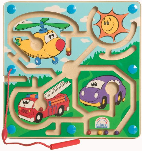 Award Winning Hape Mighty Motors Kid's Magnetic Wooden Maze Puzzle
