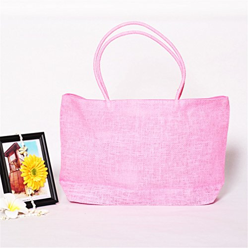 Bag Amuele Beach Shopping Handbag Straw Tote Shoulder PINK Weave Purse Woven xOrw01qpO