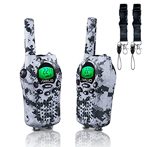 AVALID Walkie Talkies for kids, 22 Channel FRS/GMRS Long Range 5KM Two-Way Radios with Free Straps, Ultra-Long Standby/Back-lit LCD Screen Radio Walkie for Indoor/Outdoor Activities( Pair,Grey Camo )