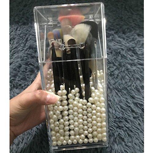 Brushes Caddy,Clear Cosmetics Organizer Holder Desktop Accessories-A 10x10x21cm(4x4x8)
