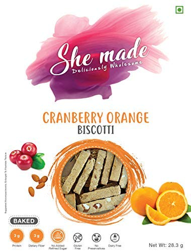 Sattva Gourmet Foods by Sujatha-She Made Biscotti Cranberry Orange (Pack of 3)