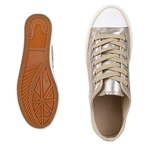 Zapatillas planas, unisex, deportivas Gold Glitzer