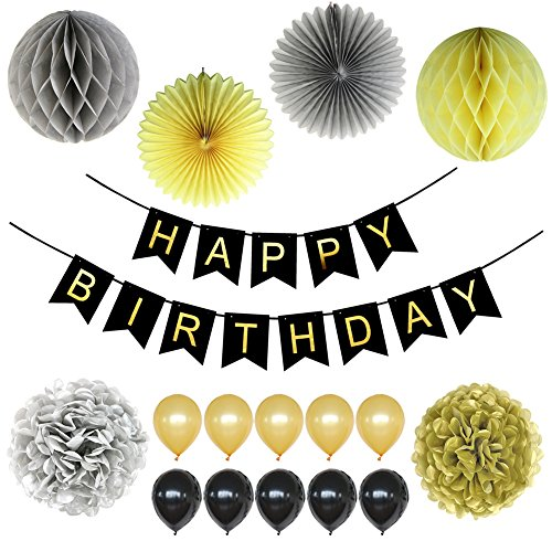 LOCCA Black and Gold Party Decorations 18th, 21st, 30th, 40th, 50th, 60th, 70th, 75th, 80th, 90th Birthday Party Supplies for Men Women Adult, Happy Birthday Banner and Balloons with Tissue Paper Pom
