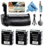 Multi Power Battery Grip + (3 Pack) Ultra High Capacity LP-E6 LPE6 Replacement Battery (2800mAh) for Prints + Lens Cleaning Kit for Canon EOS 5DM3 5DMIII 5DMark 5DMark3 5D Mark 3 III DSLR SLR Digital Camera (BG-E11 BGE11 Replacement)