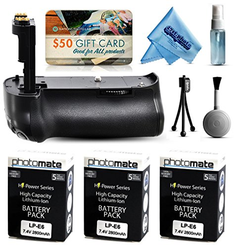 Multi Power Battery Grip + (3 Pack) Ultra High Capacity LP-E6 LPE6 Replacement Battery (2800mAh) for Prints + Lens Cleaning Kit for Canon EOS 5DM3 5DMIII 5DMark 5DMark3 5D Mark 3 III DSLR SLR Digital Camera (BG-E11 BGE11 Replacement) by 47th Street Photo