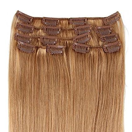 Beauty7 Pelucas 7 unidades 70g extensiones de clip de pelo natural pelucas cabello humano de color