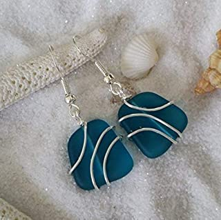 product image for Handmade sea glass jewelry from Hawaii,wire wrapped teal blue sea glass earrings, (Hawaii Gift Wrapped, Customizable Gift Message)