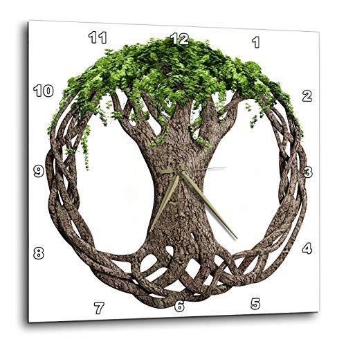 - 3dRose Macdonald Creative Studios – Celtic - A Tree of Life Symbol, a Popular Irish and Celtic Symbol. - 10x10 Wall Clock (DPP_295361_1)