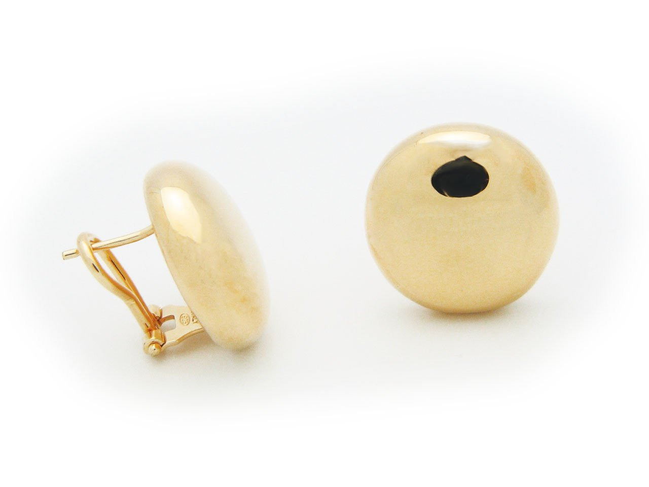 Modern Art Puffed Sun Omega Clip Earrings High Polish Silver Gold Plated by Fronay