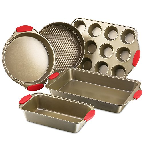 Bakeware Nonstick Baking Pans Set of 5 by Kitchen Komforts. Includes Baking Pan, Loaf Pan, Springform Cake Pan, Muffin Pan, Pizza Pan, with Red Silicone Handle Grips