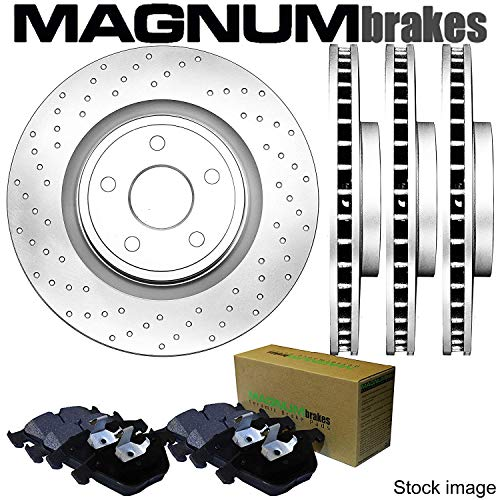 Front and Rear MagnumBrakes Cross Drilled Brake Rotors & Ceramic Brake Pads for 2001-2006 BMW M3 ()
