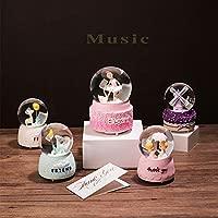 Purple Windmill Snow Globe for Girls,Music Box for Christmas Wedding Birthday Gift