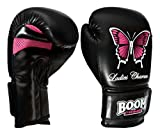 BOOM Prime Ladies Rex Leather Boxing Gloves 6oz-14oz Punch Bag MMA Muay Thai Training Martial Arts Sparring Mitts (Black, 8oz)