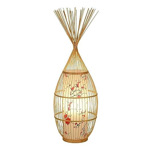 Lámpara de pie Jue Creativo pájaro Jaula de bambú Hueco Pesca ...