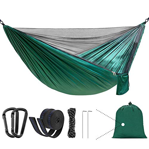 Camping Hammock with Net,Lightweight Portable Parachute Nylon Hammock with Tree Straps,Double&Single,Hiking Hammock,Suitable for Indoor, Outdoor, Hiking, Camping, Backyard, Beach, Backpacking (Green)