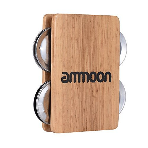 ammoon Cajon Box Drum Companion Accessory 4-bell Jingle Castanet for Hand Percussion Instruments