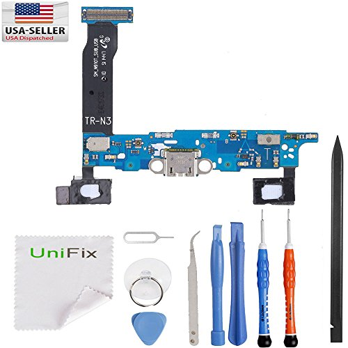 Unifix-Charging Port Flex Cable Dock Connector USB Port Replacement for Samsung Galaxy Note 4 N910T Tmobile + Premium Tools