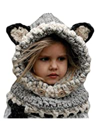 YULOONG Kids Knitted Hat Autumn Winter Cute Children's Fox Cat Wool Hat Hand-Woven Warm Earmuffs Cape Caps Unisex