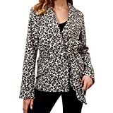 FIRERO Women V-Neck Blouse with Long-Sleeved Leopard Print Sexy Coat
