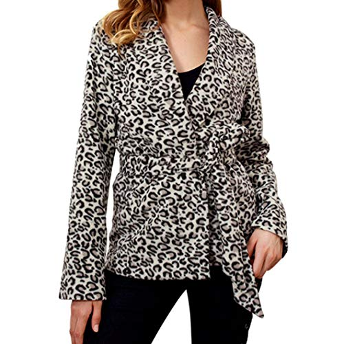 FIRERO Women V-Neck Blouse with Long-Sleeved Leopard Print Sexy Coat by FIRERO