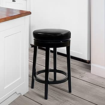 Amazon Com Armen Living Leather Swivel Barstool Black