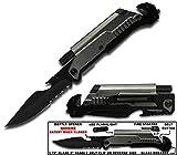 Rogue River Tactical 6-in-1 Multitool Knife with Flint Fire Starter, LED Light, Bottle Opener, Belt Cutter and Windows Breaker